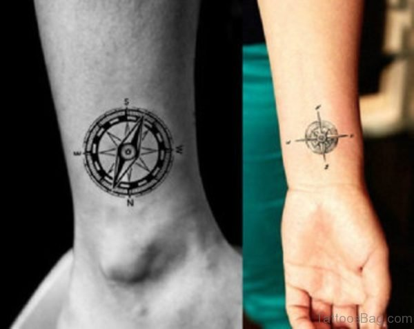 Elegant Compass Tattoo On Wrist