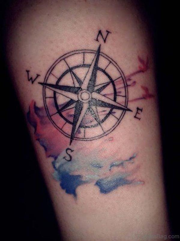 Elegant Compass Tattoo