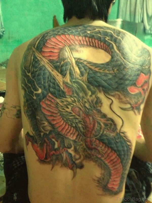Elegant Dragon Tattoo On Back