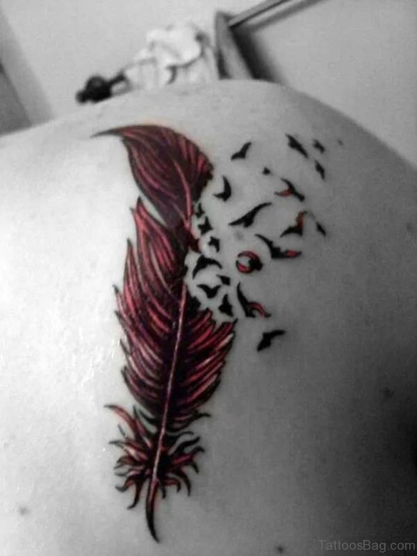 Elegant Feather Tattoo On Back