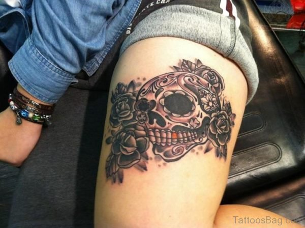 Elegant Flower And Skull Tattoo