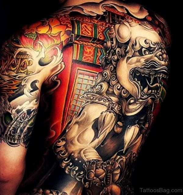 Awesome  Full Back Tattoo