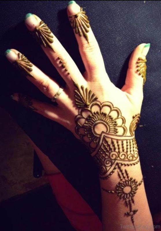 Elegant Henna Flower Tattoo