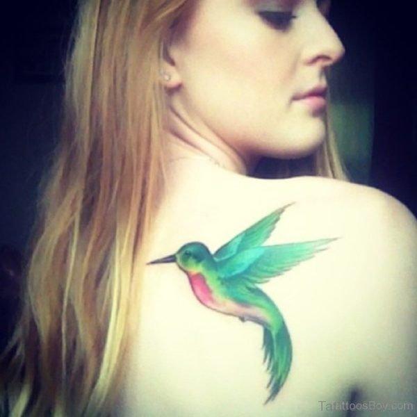 Elegant Hummingbird Tattoo On Back