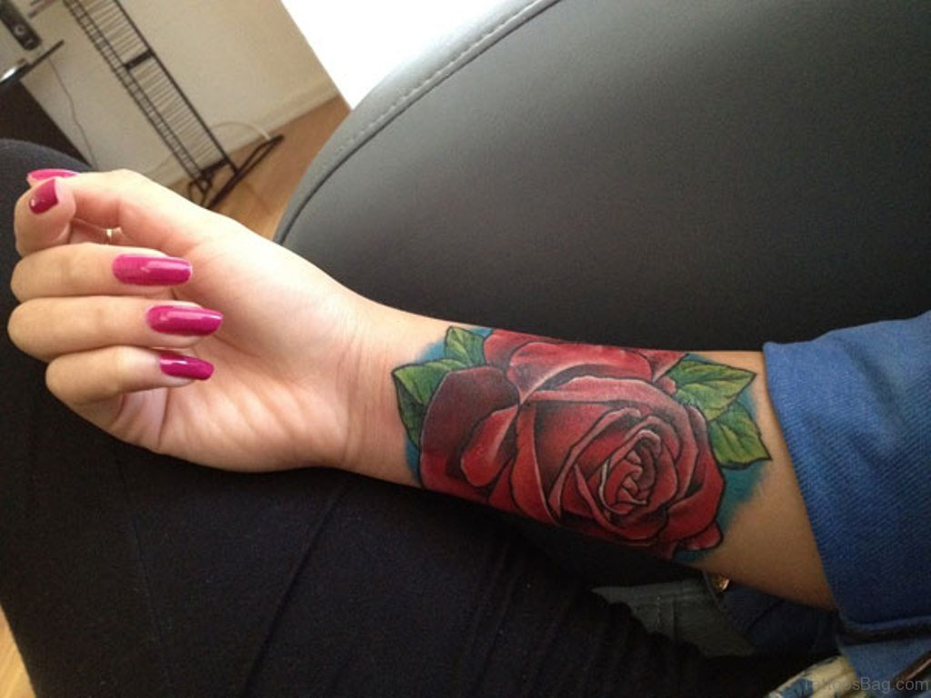 52 wrist colorful rose tattoo designs. Black Bedroom Furniture Sets. Home Design Ideas