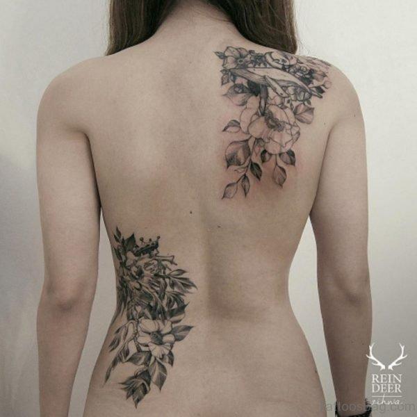 Elegant Leaf Tattoo On Back
