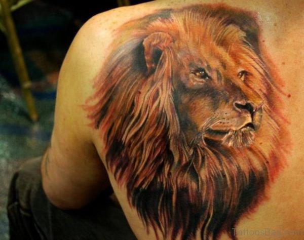 Elegant Lion Tattoo On Back