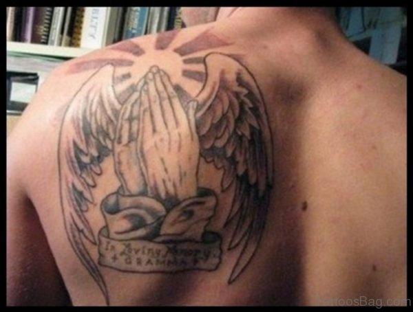 Elegant Memorial Angel Tattoo