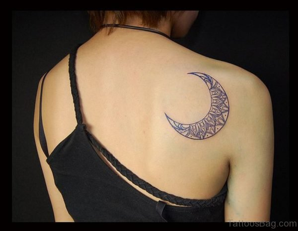 Elegant Moon Tattoo On Back