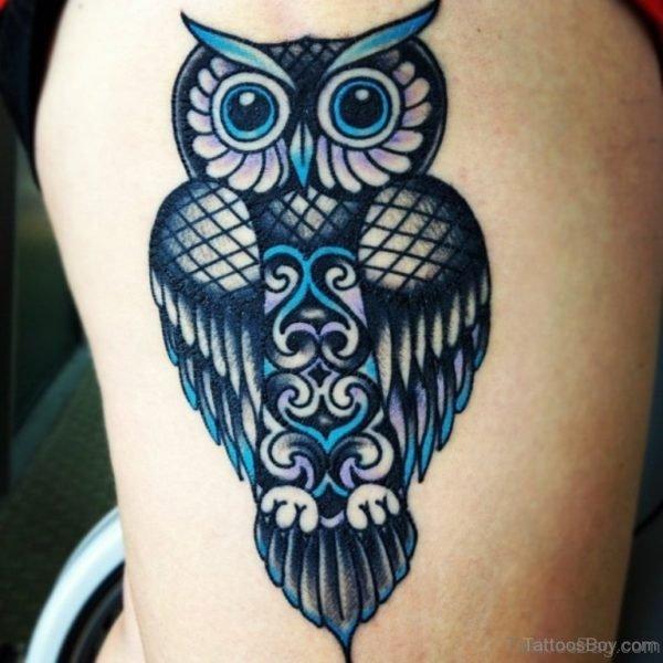 Elegant Owl Tattoo Design On Thigh