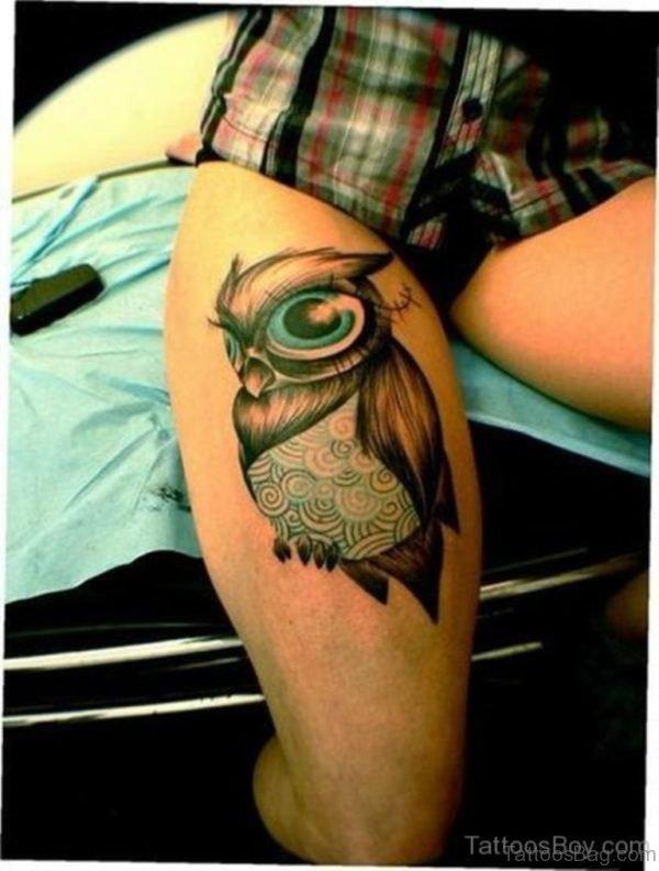 Elegant Owl Tattoo On Thigh