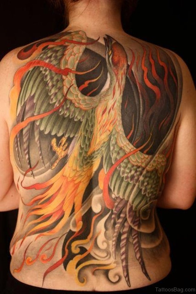 60 fine phoenix tattoos for back for Anthony french tattoo