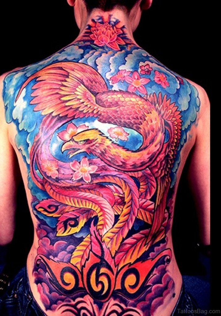 60 fine phoenix tattoos for back for Phoenix tattoo on back