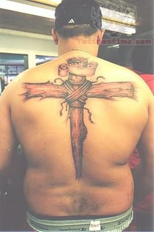 Elegant Religious Tattoo On Back