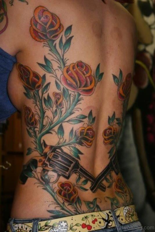 Elegant Rose Tattoo On Full Back