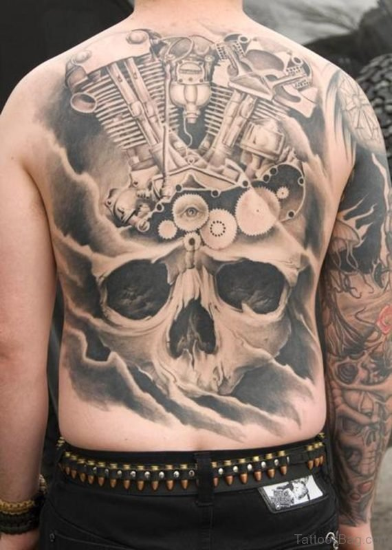 Elegant Skull Tattoo On Full Back