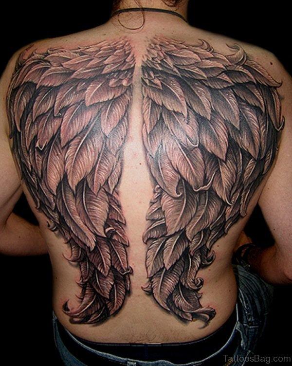Elegant Wings Tattoo On Back