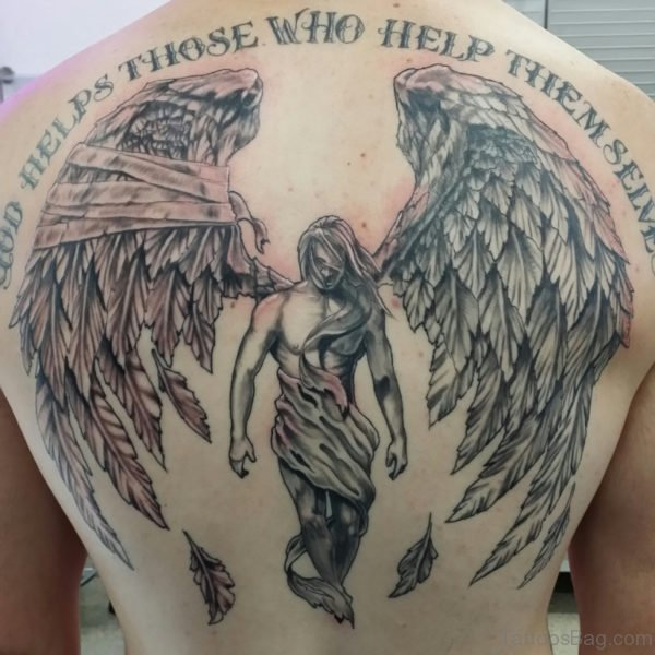 Elegant Wording And Angel Tattoo