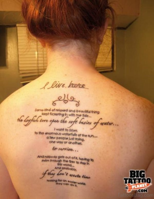 Elegant Wording Tattoo On Back