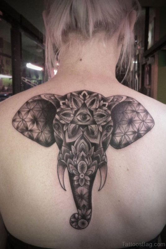 Elephant Face Tattoo Design