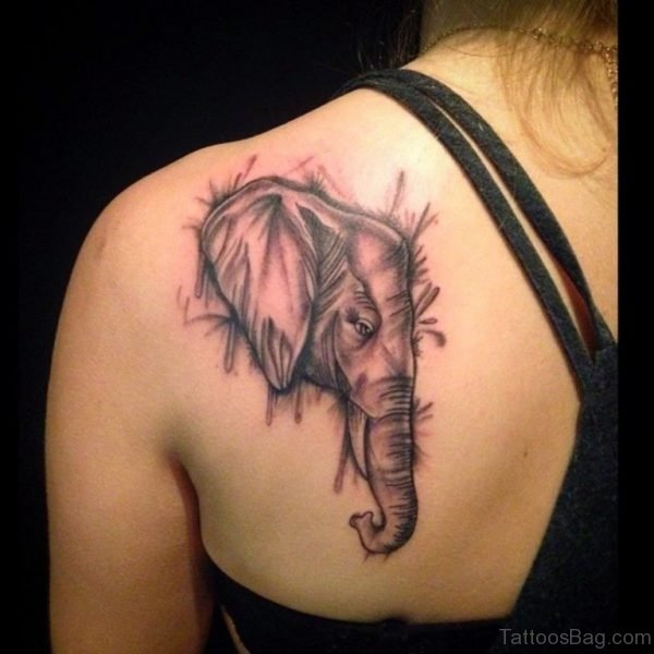Elephant Tattoo On Left Shoulder