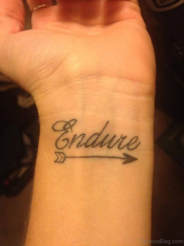 Endure Arrow Tattoo On Wrist