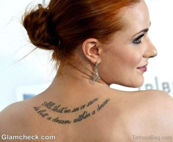 Evan Rachel Wood  Tattoo On Back