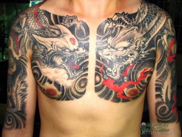 Evil Chinese Dragon Tattoo On Chest