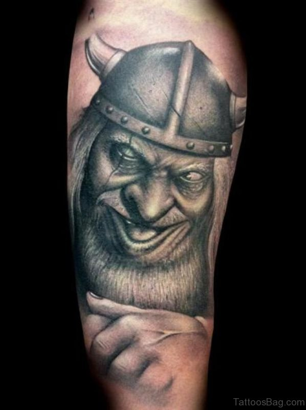 Evil Viking Tattoo On Shoulder