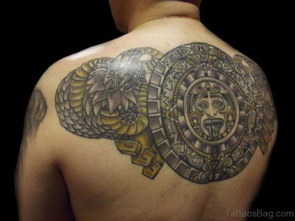 Excellent Aztec Tattoo Design On Back