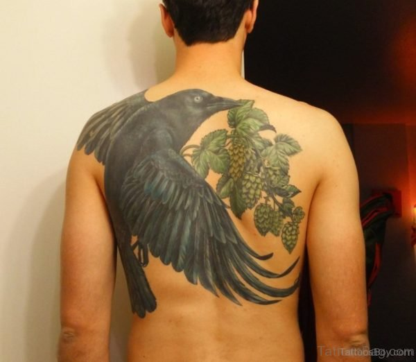 Excellent Crow Tattoo On Back