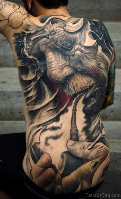 Excellent Full Back Tattoo