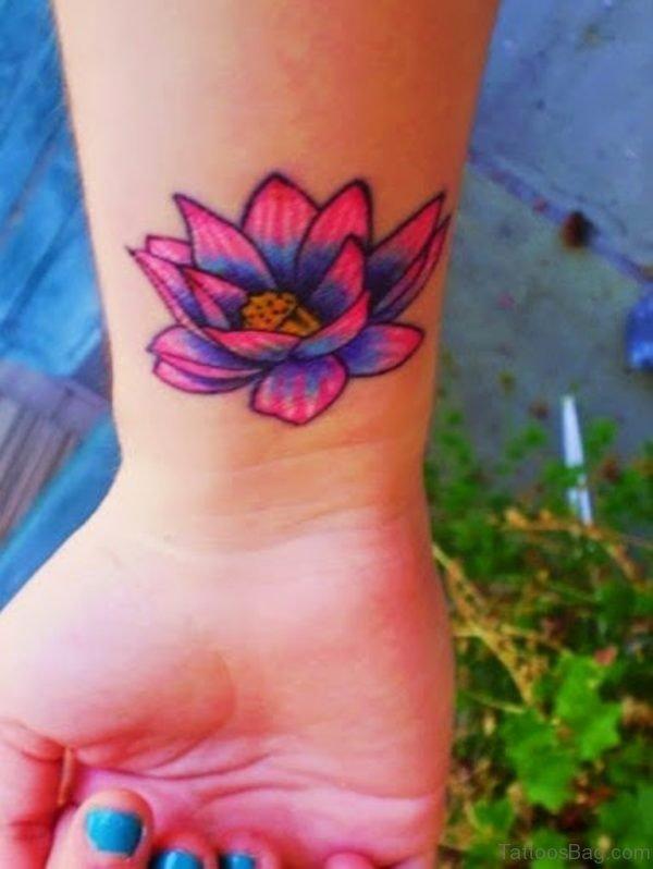 Excellent Lotus Flower Wrist Tattoo