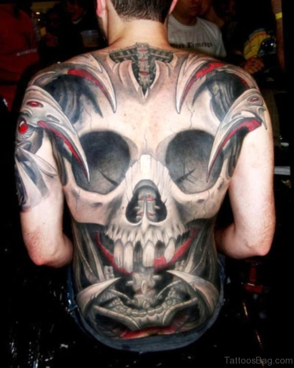 Excellent Skull Tattoo On Full Back