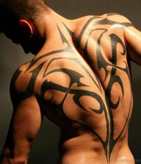 Excellent Tribal Tattoo On Back