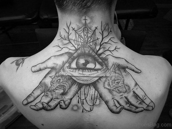 Eye And Hands Tattoo On Back