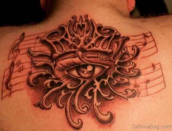 Eye And Music Note Tattoo
