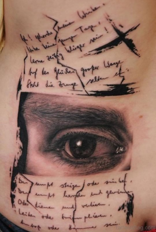Eye And Wording Tattoo