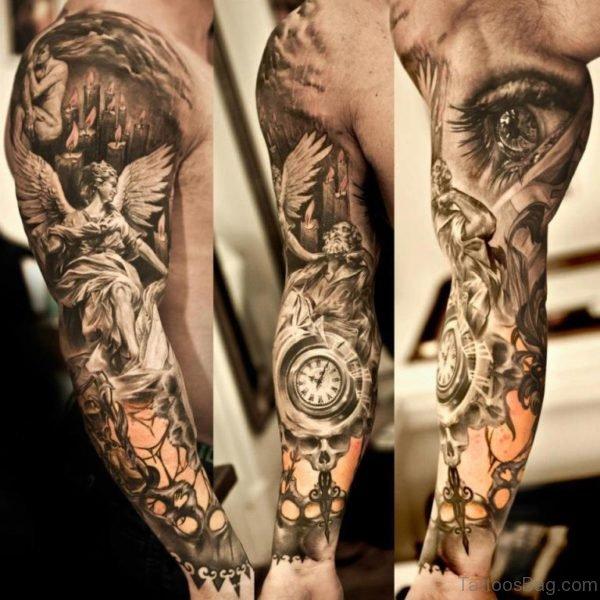 Eye Design Egyptian Shoulder Tattoo