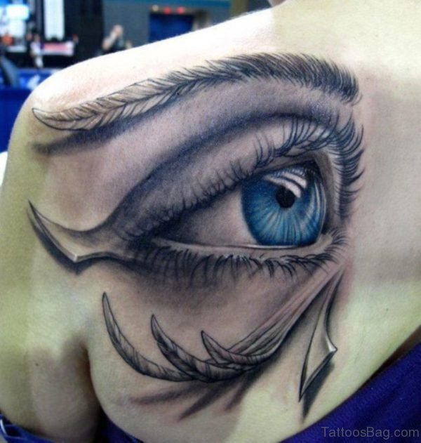 Eye Designer Tattoo On Shoulder