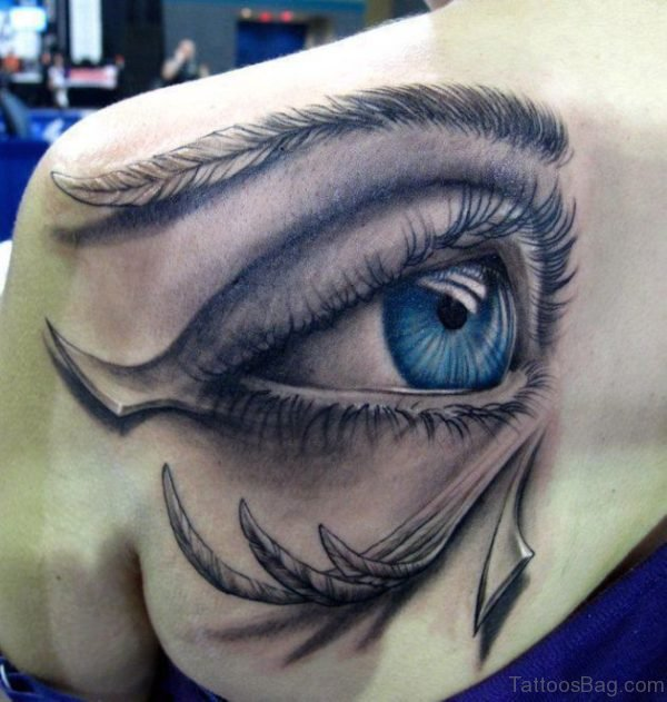 Eye Designer Tattoo On Shoulder