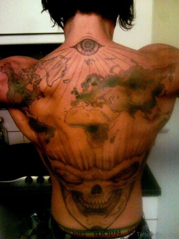 Eye Map And Skull Tattoos On Whole Back