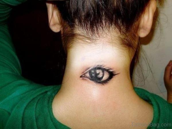 Eye Neck Tattoo For Women