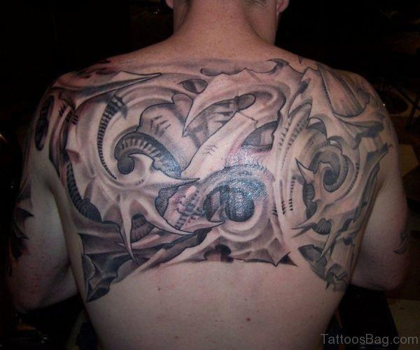 Fabulous Biomechanical Tattoo On Back