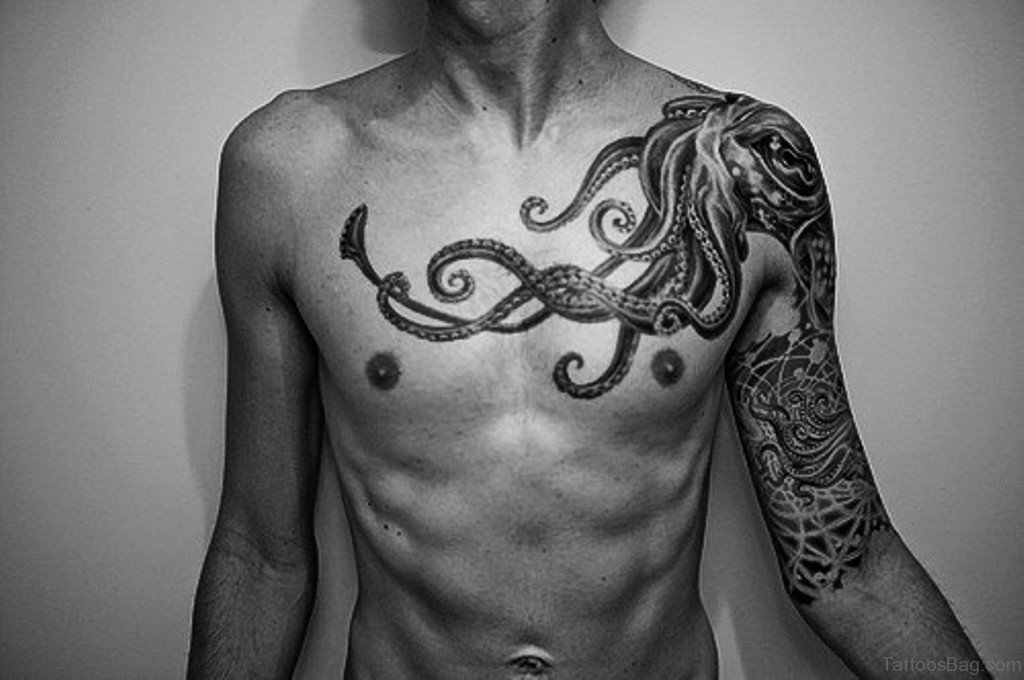 50 wonderful chest tattoos for men for Small chest tattoos for guys