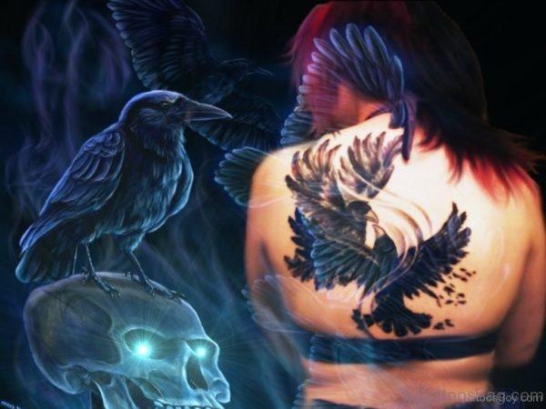 Fabulous Crow Tattoo On Back