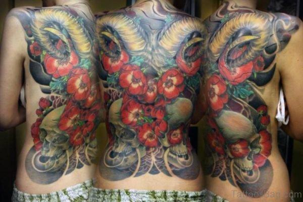 Fabulous Flower Tattoo On Back