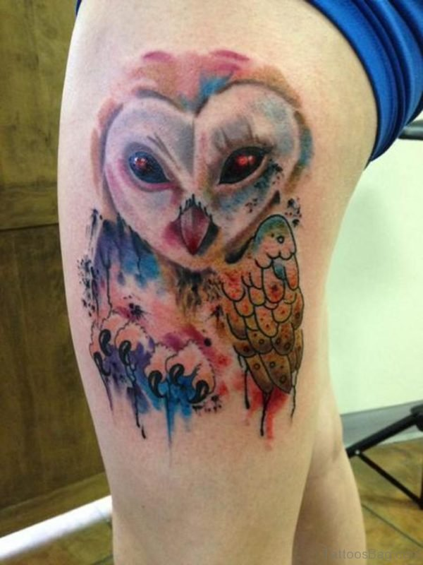 Fabulous Owl Tattoo On Thigh
