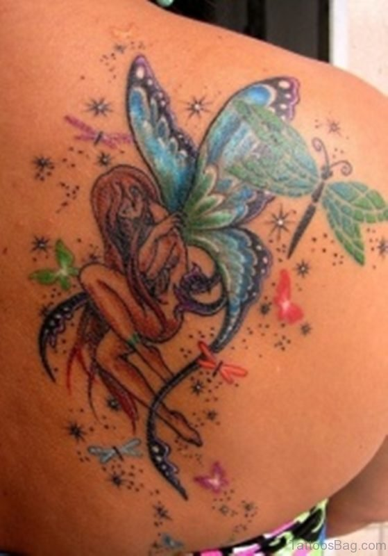 Fairy And Dragonfly Tattoo