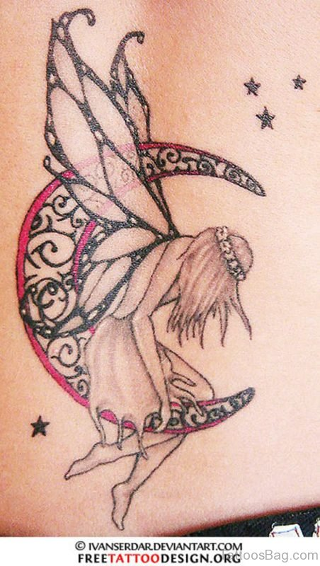 Fairy Moon Tattoo Design